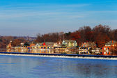 The famed Philadelphias boathouse row in Fairmount Dam Fishway — Stock Photo