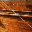 A close up detail of an old wooden Dhow boat — Stock Photo #40526411
