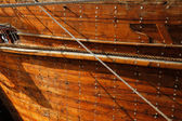 A close up detail of an old wooden Dhow boat — Stock Photo