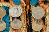 Traditional Afghani waistcoat decorated with old coins — Stock Photo