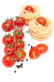 Paste, pepper and fresh cherry tomatoes — Stock Photo