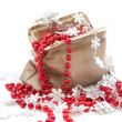 Red beads and snowflakes in a bag — Stock Photo #16849859