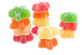 Yellow, red, orange and green jelly — Stock Photo