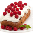 Cake with raspberry for holidays — Stock Photo