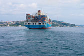 A large cargo ship from the stern (rear view) — Stock Photo