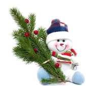Happy Christmas snowman with fir-tree, isolated on white background — Stock Photo