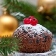 Christmas chocolate cupcake — Stock Photo