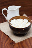 Dairy products: milk, cottage cheese — Stock Photo