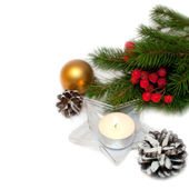 Christmas Decoration. Holiday Decorations Isolated on White Background — Stock Photo