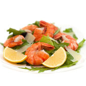 Salad with arugula, shrimp and parmesan cheese — Stock Photo