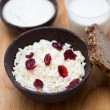Milk, sour cream, cottage cheese with cranberries and whole grain bread on a wooden table — Stock Photo #42698405