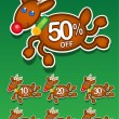 Stock Vector: Christmas Reindeer Discount
