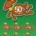 Christmas Reindeer Discount — Stock Vector