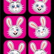 Rabbit face expressions — Stock Vector
