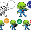 Alien Character Promoting — Stock Vector