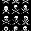 Crossed Swords with Skulls - Stockvectorbeeld