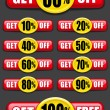 Royalty-Free Stock Vector Image: Get percent off, banners / labels / icons