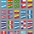 Stock Vector: Latin AmericFlags Collection