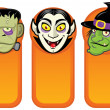 Halloween Characters in Vertical Banners - Stock Vector