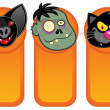 Stock Vector: Halloween Characters in Vertical Banners