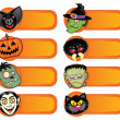 Stock Vector: Halloween Character Labels Collection