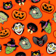 Halloween Characters Seamless Pattern — Vector de stock