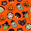 Stock Vector: Halloween Characters Seamless Pattern