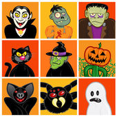 Halloween Character Avatars — Stock Vector