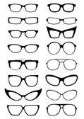 Silhouettes de lunettes et lunettes de soleil — Vecteur