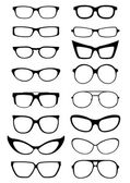Glasses and Sunglasses silhouettes — Stock Vector
