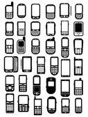 Los teléfonos móviles y smartphones iconos en vectores — Vector de stock