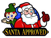 Santa Claus and Elf Approved Seal — Stock Vector