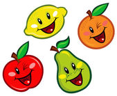 Happy Fruits Characters — Stock Vector