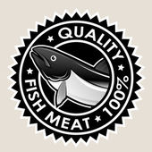 Fish Meat Quality 100% Seal — Stock Vector