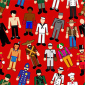 Classic Characters Seamless Pattern — Stock Vector