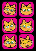 Cat facial expressions — Stock Vector