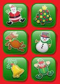 Vánoční postavy ikony — Stock vektor