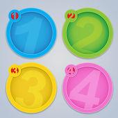 One, Two, Three, Four progressive circular labels — Stock Vector