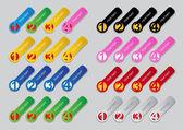 Jeden, dwa, trzy, cztery progresywnego etykiety w kolorach — Wektor stockowy
