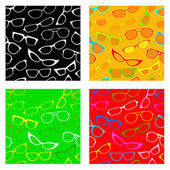 Glasses and Sunglasses seamless patterns — Stock Vector