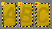 ABC warning / danger square labels — Stock Vector