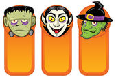 Halloween Characters in Vertical Banners — Stock Vector
