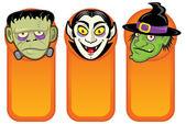 Personajes de halloween en estandartes verticales — Vector de stock
