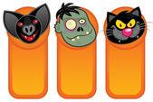 Halloween Characters in Vertical Banners — Cтоковый вектор