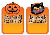 Etiquetas de carácter exclusivo de halloween — Vector de stock