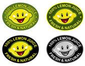 Lemon Fresh & Natural Seal — Stock Vector