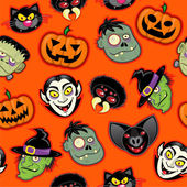 Halloween Characters Seamless Pattern — Stock Vector