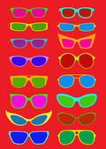 Sunglasses Collection in Summer Colors — Stock Vector