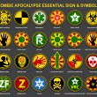 Zombie Apocalypse Essential Signs & Symbols — Stock Vector