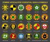 Zombie Apocalypse Essential Signs & Symbols — Stock Vector
